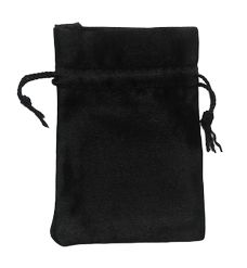 Satin Drawstring Pouch Bag small 6x9cm Black