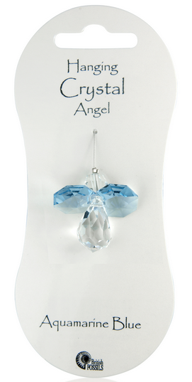 Angel Hanging Crystal - Aquamarine Blue