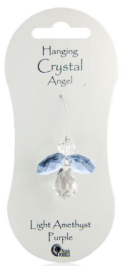 Angel Hanging Crystal - Light Amethyst Purple