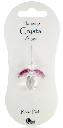 Angel Hanging Crystal - Rose Pink