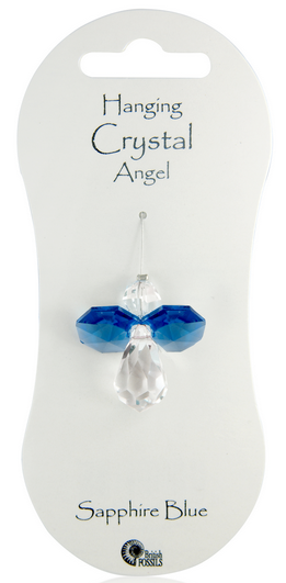 Angel Hanging Crystal - Sapphire Blue