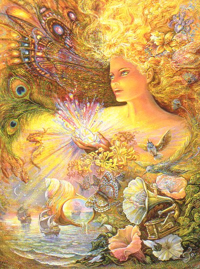 "Birthday Card ""Crystal of Enchantment"" Birthday Greetings Card by Josephine Wall (BDG45670)"