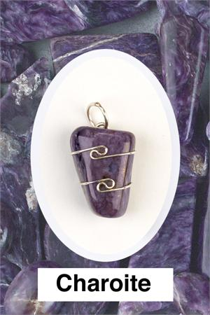 Heaven & Earth's Wired Wrapped Gemstone Pendant: Charoite