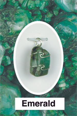 Heaven & Earth's Wired Wrapped Gemstone Pendant: Emerald