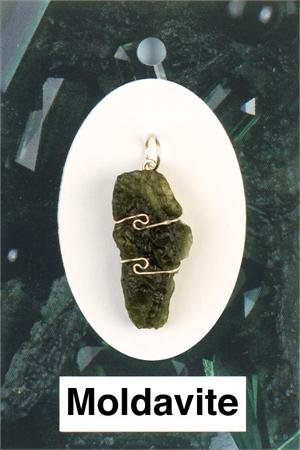 Heaven & Earth's Wired Wrapped Gemstone Pendant: Moldavite