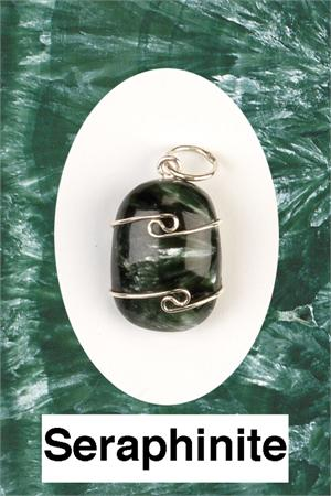 Heaven & Earth's Wired Wrapped Gemstone Pendant: Serphanite