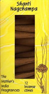 Shanti Nag Champa: The Mother's India Fragrances Incense 12 Cones