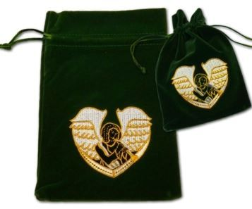 Velvet Tarot Card Bag: Green with Archangel Gabriel design