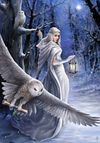 "Yuletide Magic Yule Card ""Midnight Messenger"" (AN40) by Anne Stokes"