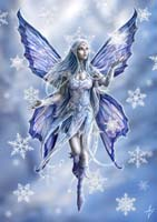 "Yuletide Magic Yule Card ""Snowflake Fairy"" (AN10) by Anne Stokes"
